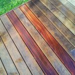 Aquanett before and after being applied to a deck