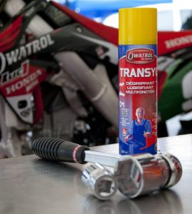 Transyl oil used on a motorbike