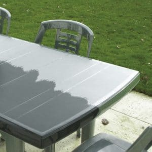 Before and after application of Polytrol to an external table