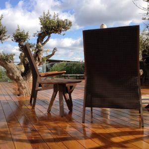 Aquatrol applied to 'The Knightbrige' exterior hardwood flooring
