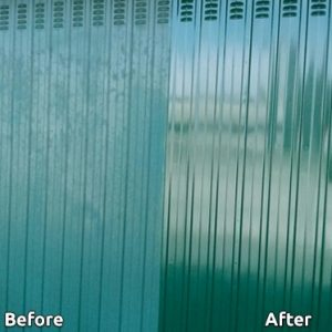Before and after applying Polytrol onto a metal garage - ©Adfields