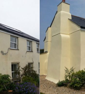 Before and after a farmhouse is treated with Easy Bond