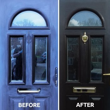Before and after of Polytrol used on a composite front door