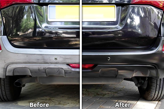 Before and after applying Polytrol to a car bumper