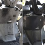 Before and after applying Polytrol to a moped