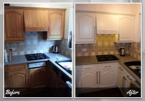 Before and after application of ESP on kitchen cupboards