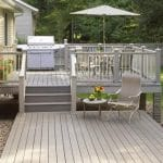 Painted beige decking