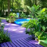 Bright purple painted decking