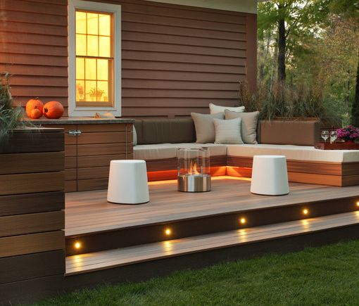 Deck with lighting and seating area