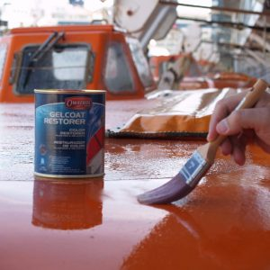 Gelcoat restorer being applied to a surface