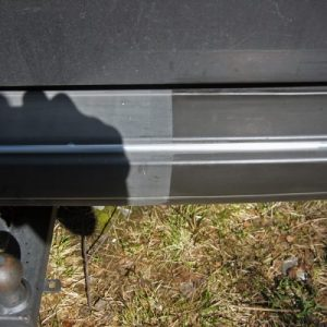 Before and after using Polytrol colour restorer on a car bumper