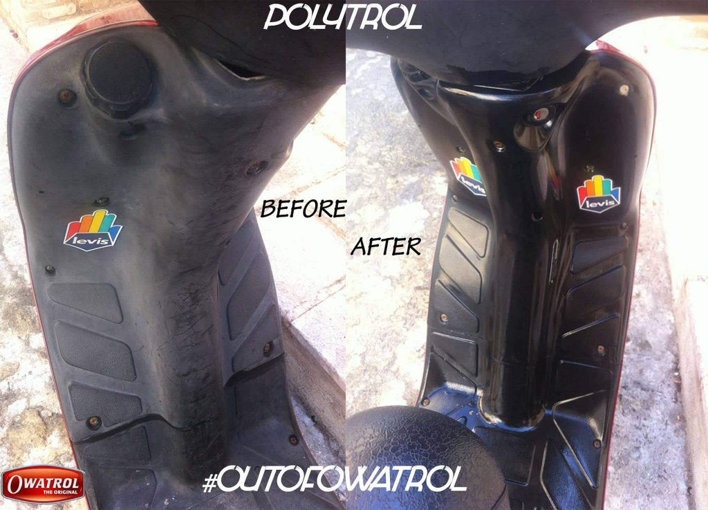 Before & After Polytrol applied to moped