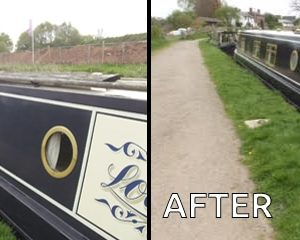 Before and after using marine Polytrol on a narrow boat