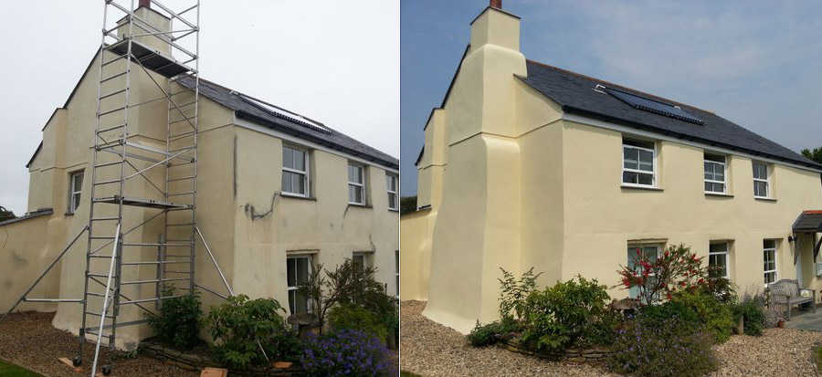 Farmhouse before & after painting with Easy Bond