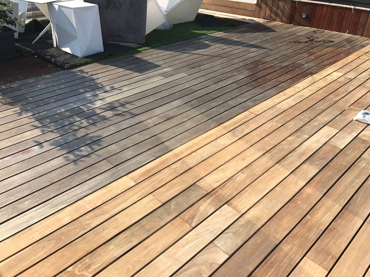 Deck being cleaned with Net-Trol