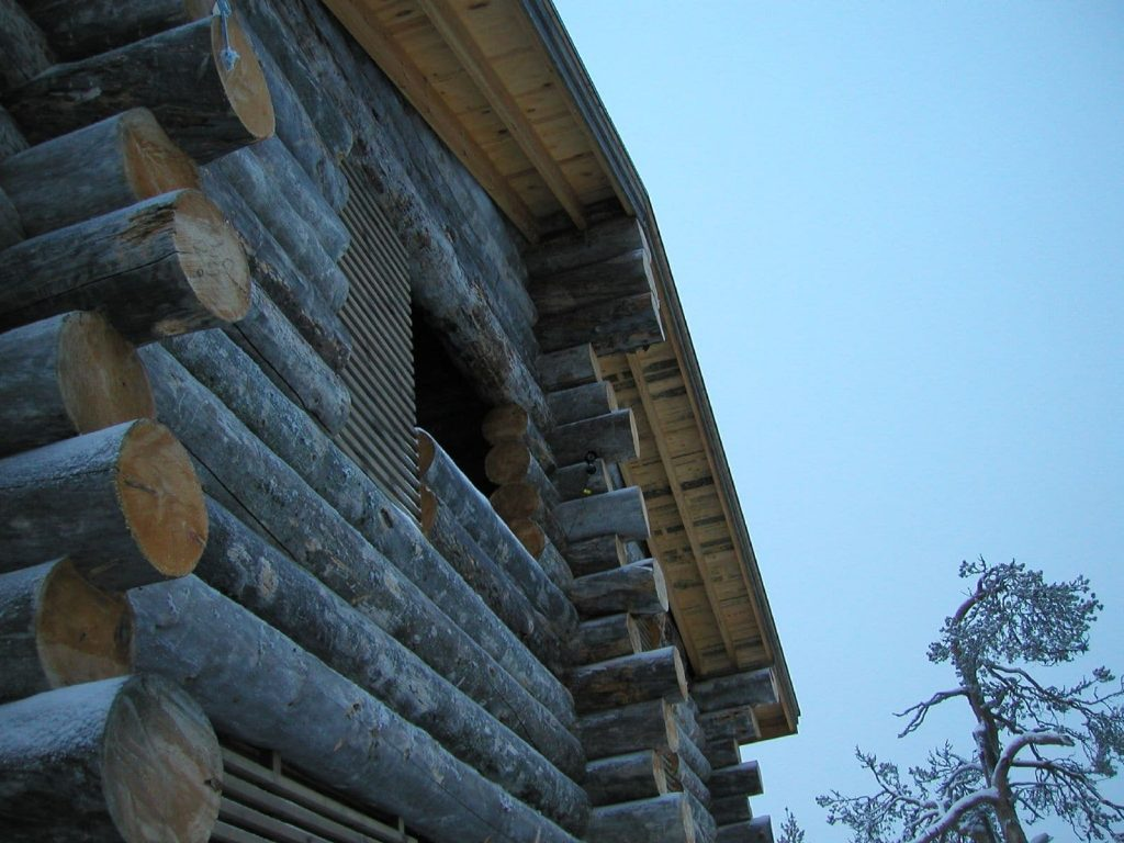 Close up of a beautiful log house