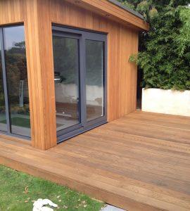 cedar cladding on a garden office and gym
