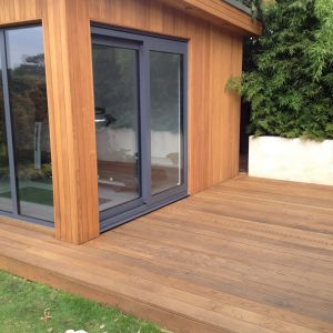 cedar cladding on a garden office and gym