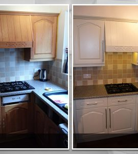 Before and after kitchen cupboards transformed with ESP