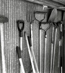 Various tools inside a shed