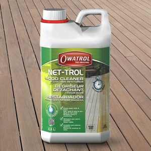 Net-Trol Wood Cleaner with a wooden background