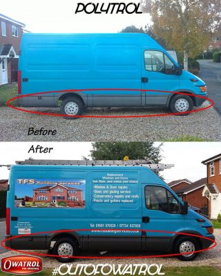 Before and after using Polytrol to revive a vans bumpers