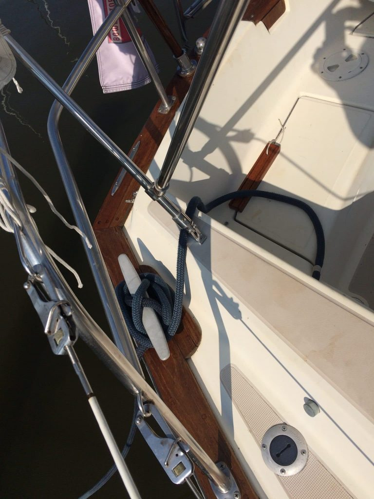 After shot of a boat with Deks Olje D1 and D2