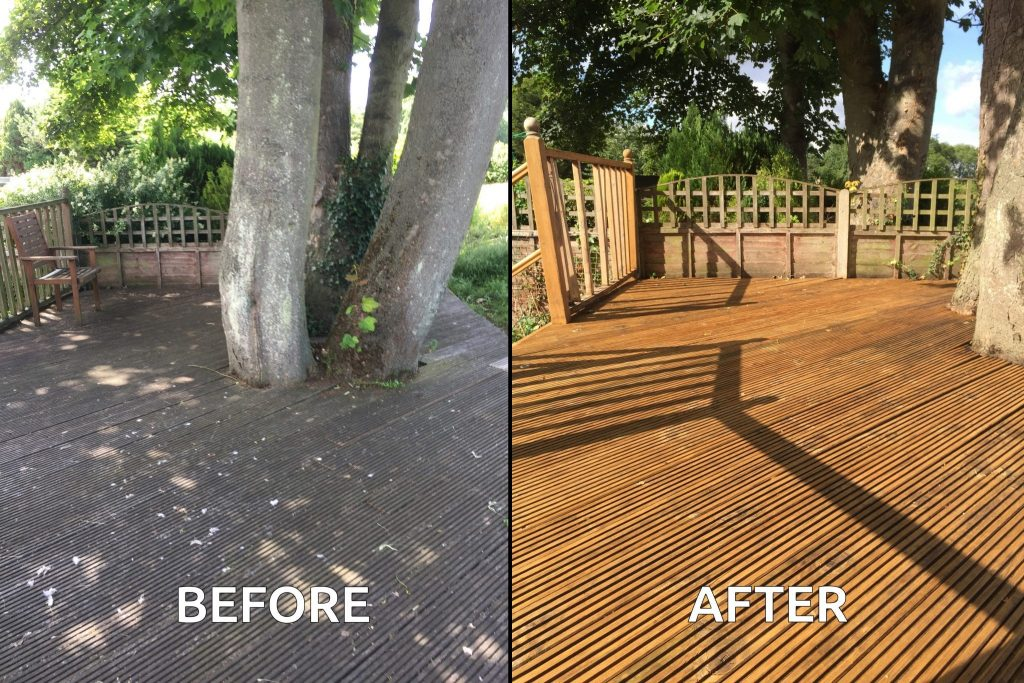 Before and after application of Aquadecks on a reeded deck