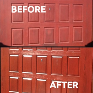 Before and after using Polytrol on a red garage door