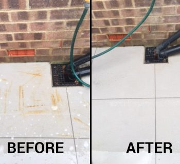 Before and after using Net-Trol to remove rust from porcelain tiles