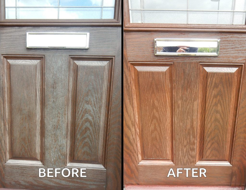Composite Wood Door : Using polytrol to restore a faded wood effect composite