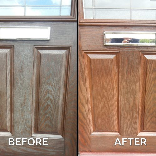 Before and after using Polytrol on wood effect composite front door