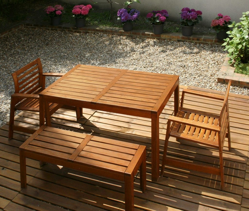 Textrol applied to exterior wood furniture