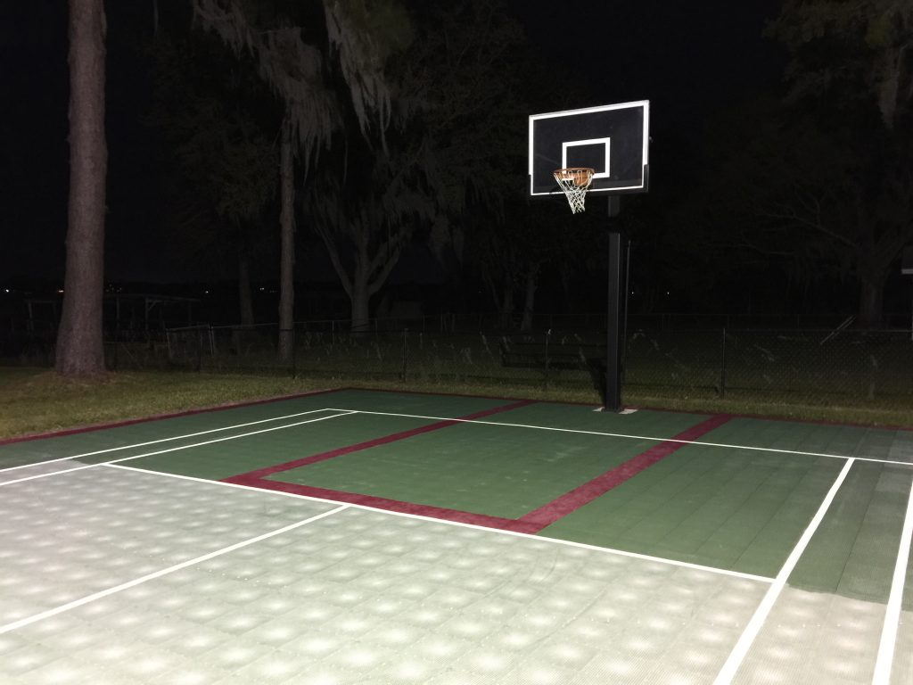 Sport court during Polytrol application