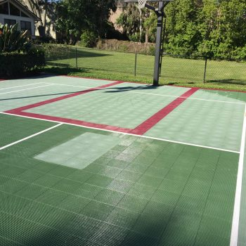 Comparison before and after sport court revived with Polytrol