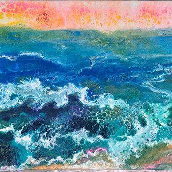 acrylic paint pour by Caren Goodrich art