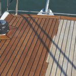 before and after of Deks Olje D1 being applied to a boat deck - ©Adfields