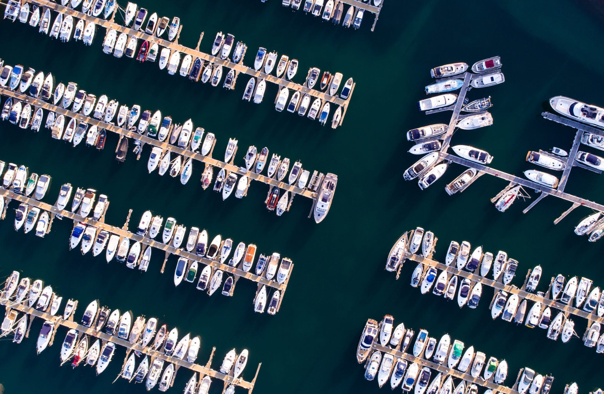 Various boats moored up