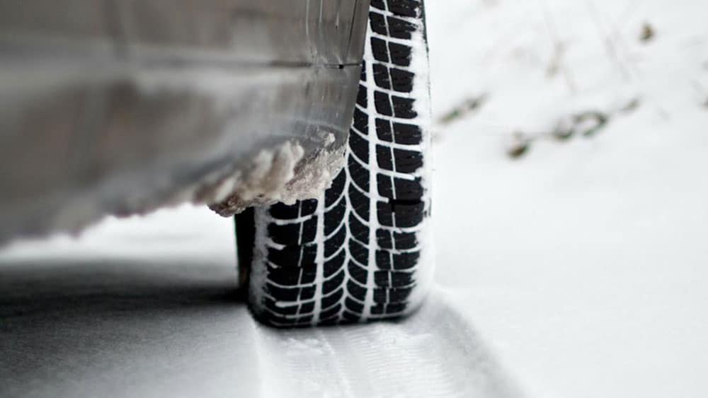 Car tires in the snow