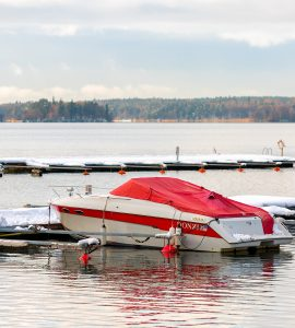Boat on a lake in the winter