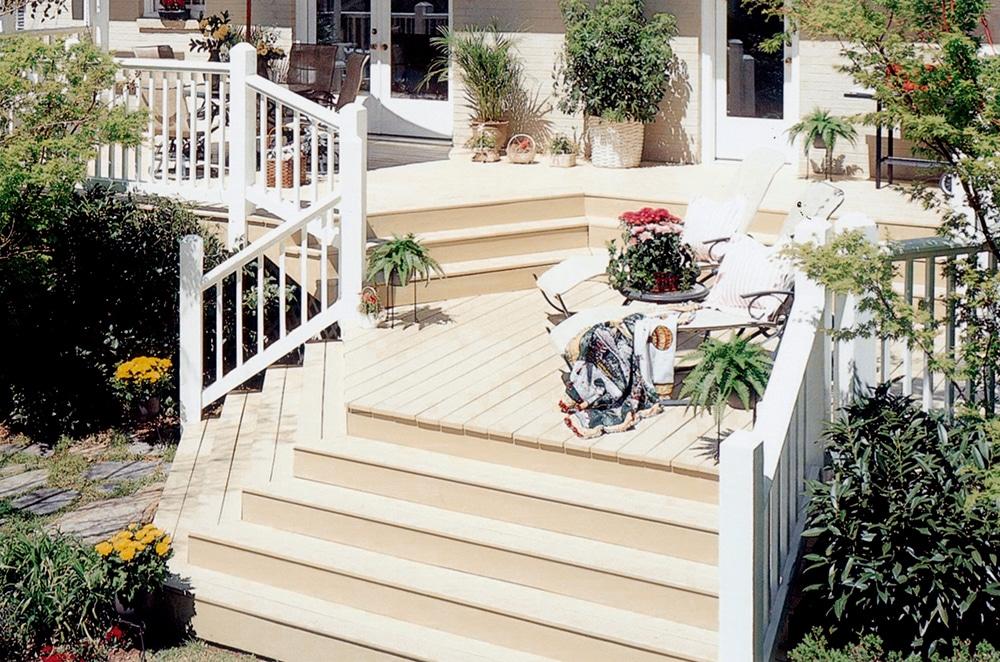 Raised yard deck painted white