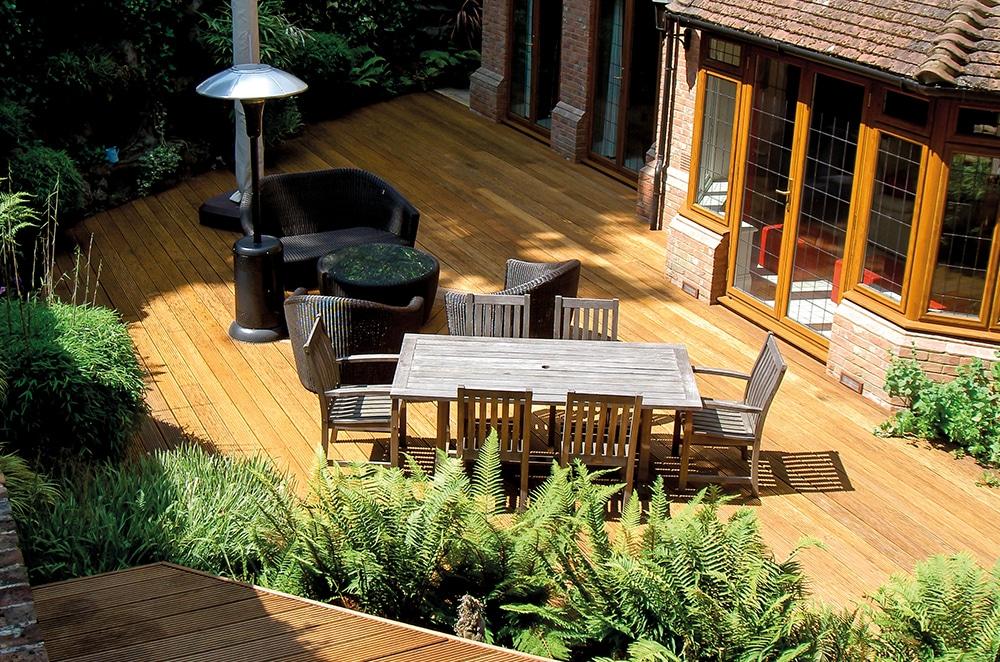 Garden deck with furniture