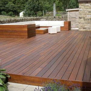 A hardwood deck with seating area