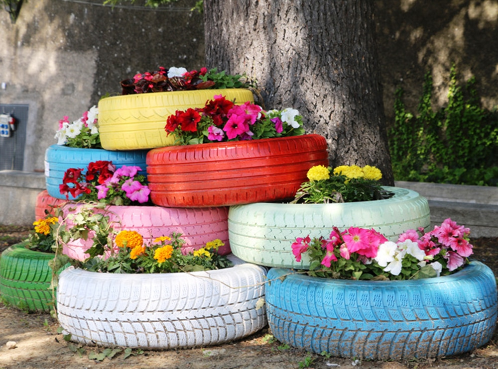 old tyres re-purposed as raised garden beds