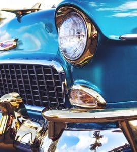 Close up of a blue classic car