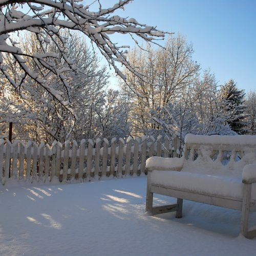 yard farniture in the winter