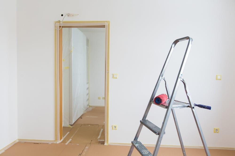 tape off door frames with masking tape