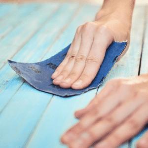 Using sandpaper on wood