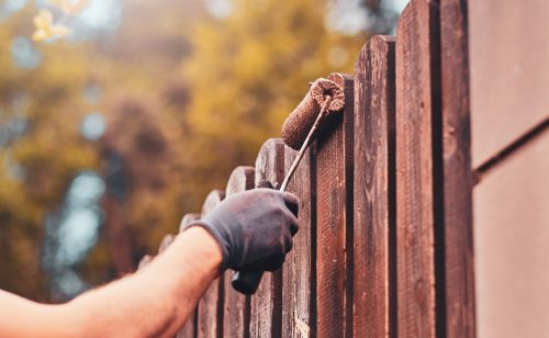 Painting a fence with a roller